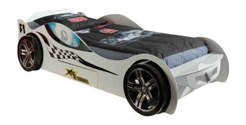 Vipack scmc 200 W Lit Voiture Silverstone Rouge, env. 225 x 63 x 111 cm, Couchage 90 x 200 cm, laqué Blanc Course Style de caractère