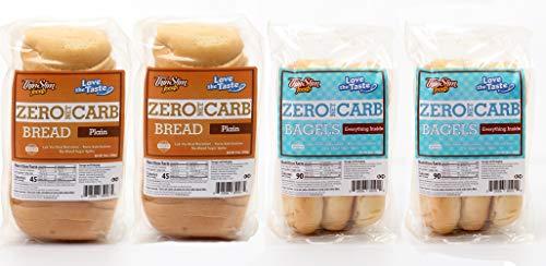 ThinSlim Foods Zero Net Carb Bread Plain 2pack Bundle with ThinSlim Foods Zero Net Carb Bagels Everything Inside 2pack | 0g Net Carbs | 45-90 Calories