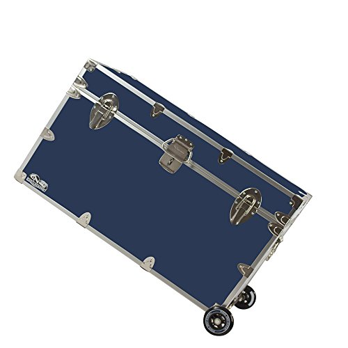 C&N Footlockers Graduate Storage Trunk with Wheels - Rolling Camp or College Dorm Chest - Lockable - 32 x 18 x 18.5 Inches (Navy)