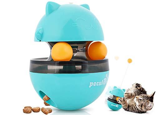 Pecute Katzenspielzeug, Interaktives Spielzeug,Tumbler-Spielzeug Für Katzen, Katzen Snackball mit verstellbare Öffnung und Zwei rollenden Bällen