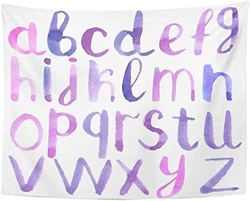 JXZIARON Tapiz Art Paño para Colgar en la Pared Impresión HD Cocina Dormitorio Sala de Estar Decoración,Letras Acuarela Azul Rosa Morado Tapices Dormitorio 150x100cm