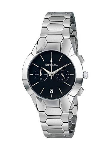 BREIL - Damenkollektion Armbanduhr New ONE TW1850 - Wasserdichter Damen Chronograph - Edelstahlarmbanduhr - Schwarzes Zifferblatt und Edelstahlarmband