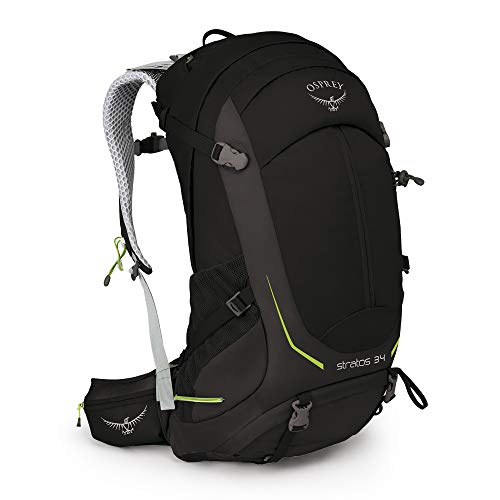 Osprey Stratos 34 Men's Hiking Backpack, Black, Medium/Large