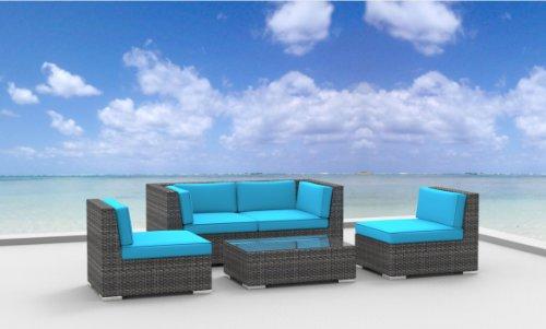 Hot Sale Urban Furnishing - RIO 5pc Modern Outdoor Backyard Wicker Rattan Patio Furniture Sofa Sectional Couch Set - Sea Blue