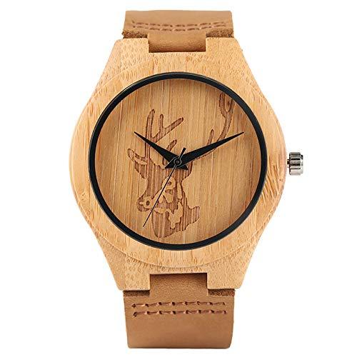 PLUIEX Reloj de Madera Reloj Creativo de Calavera para Hombre, Madera, Alce, Alce, Cabeza de Ciervo, Esfera, Reloj de bambú, Reloj de Pulsera de Cuarzo de Cuero Informal para Hombre, Regalos de Navi