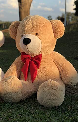 Urso Gigante Pelúcia Grande Teddy 1,10 Metros - Doce de Leite com Laço Vermelho
