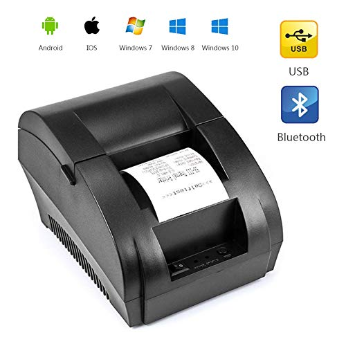 Stampante Termica per Etichette, Stampante Termica Portatile per Ricevute Stampante per Ricevute con Codice QR Portatile Palmare Android/iOS Doppio Sistema Connessione Bluetooth Porte Multiple