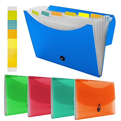 5 Pack 7 Pocket Expanding File Folder with Colored Tabs, A4 Letter Size Accordian File Paper Document Folder Organizer Bill/Paper/Document/Receipt Folders for School Office Home Paperwork Travel
