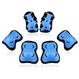 BOSONER Kids/Youth Knee Pad Elbow Pads Guards Protective Gear Set for Roller Skates Cycling BMX Bike Skateboard Inline Skatings Scooter Riding Sports (Black/Blue, Medium(9-15 Years))