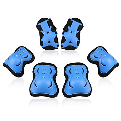 BOSONER Kids/Youth Knee Pad Elbow Pads Guards Protective Gear Set for Roller Skates Cycling BMX Bike Skateboard Inline Skatings Scooter Riding Sports (Black/Blue, Small (3-8 Years))