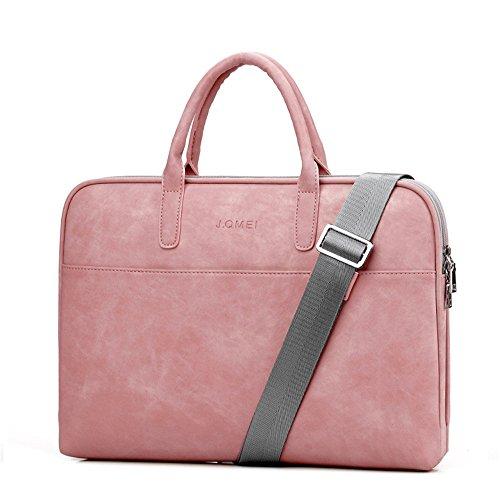 j.qmei Bolsas de Piel sintética para Ordenador portátil de 13 13,3 14 15 15,6 17 17,3 Pulgadas, Informales, portátiles, Impermeables, para Hombre Rosa Pink Luxury 17,3 Pulgadas