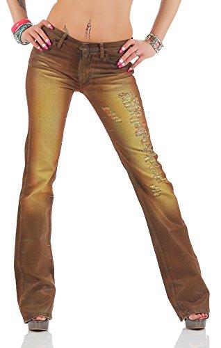 Jeans donna Fornarina marrone Brown ATTITUDE Jeans kenie Destroyed fori Used in cuoio Vintage look Rock Star da yoga da impatto pantaloni Jeans impact Marrone marrone
