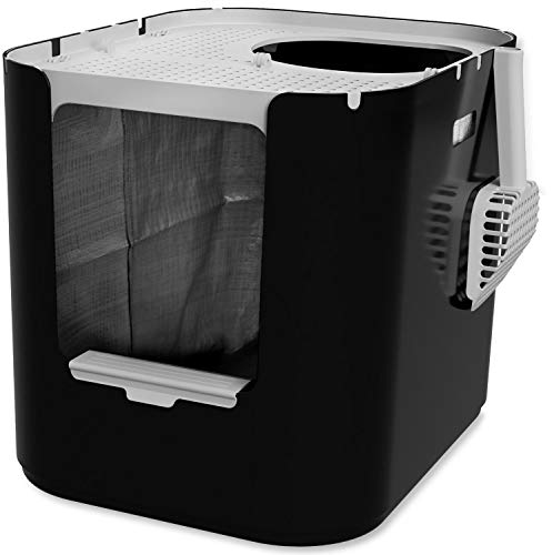 Modkat XL Litter Box, Top or Front-Entry Configurable, Includes Scoop and Liners - Black (Black)