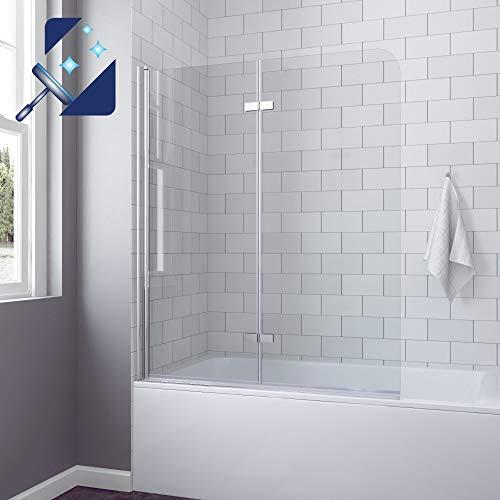 AQUABATOS® 120x140 cm Duschtrennwand für Badewanne Badewannenfaltwand Badewannenaufsatz Duschwand Glas faltbar Faltwand aus 5 mm Einscheiben Sicherheitsglas Echtglas Klarglas Nano Beschichtung