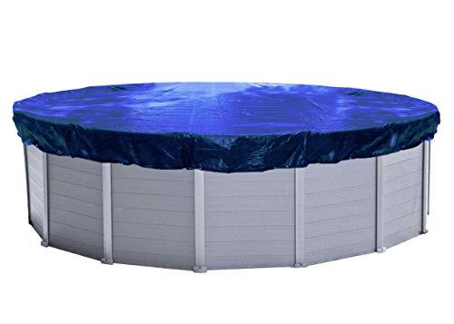 QUICK STAR Abdeckplane Pool Rund Planenmaß 520cm. Passend für Poolgröße 420-460cm. Winterabdeckplane Poolabdeckung 200g/m² Blau