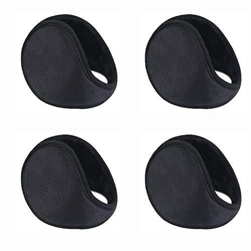 WeiMeet 4 Pieces Unisex Fleece Earmuffs Foldable Earmuffs Winter Outdoor Ear Warmer Men's Earmuffs Women's Earmuffs (Mixed Color)