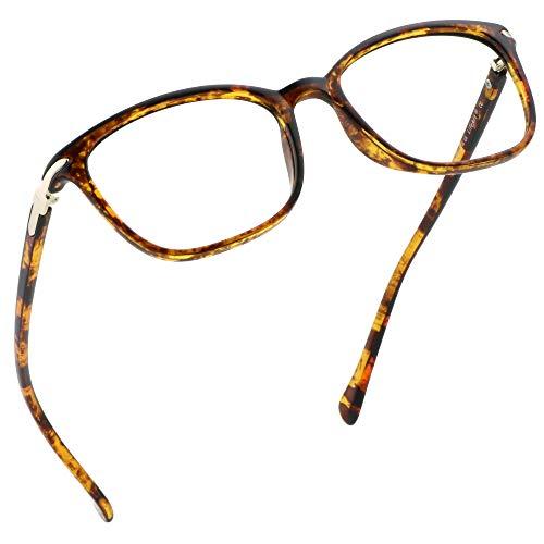 LifeArt Lunettes anti-bleu, lunettes de lecture d'ordinateur, lunettes de jeu, lunettes de télévision pour hommes et femmes, anti-éblouissement (Tortue, No Magnification)