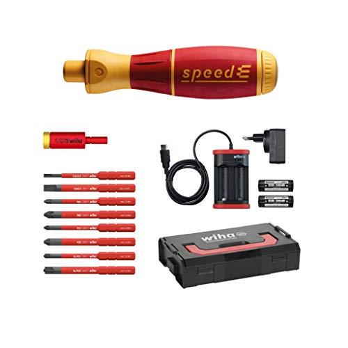 Wiha elektrischer Schraubendreher speedE Set 2 (41912), 13 tlg., mit Akku + L-Boxx + Bits + Batterien + Ladegerät EU + Drehmoment Adapter, Phillips/ Schlitz/ Pozidriv/ Pozidriv PlusMinus (SL/PZ)