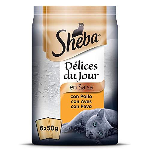 Sheba Délices du Jour Comida húmeda para Gatos, Sabor Ave, Multipack (Pack de 12 x 6 bolsitas x 50g)