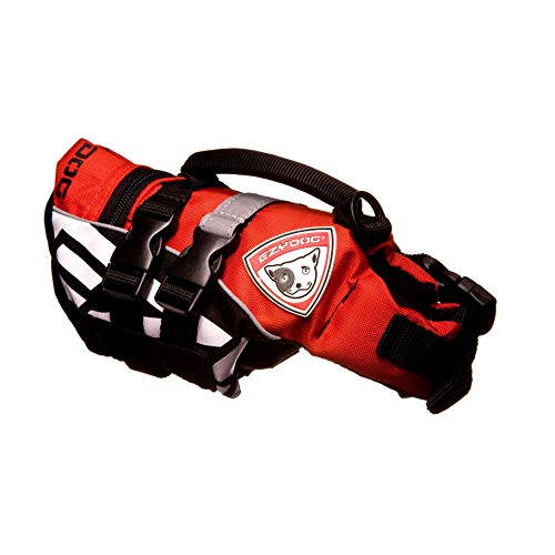EzyDog Schwimmweste für Kleine Hunde - DFD Micro Hundeschwimmweste - Rettungsweste für Kleine Hunderassen - Größenverstellbar, mit Griff und Reflektoren (XS, Rot)