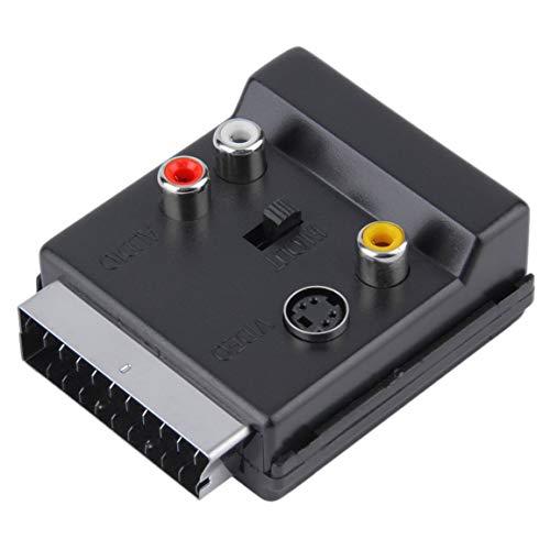 Bellaluee El más Nuevo scart conmutable Macho a Cicatriz Hembra S-Video 3 RCA Adaptador de Audio convector Negro