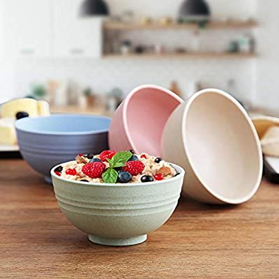 4pcs Wheat Straw Plastic Cereal Bowls Dinnerware Set/Reusable-Unbreakable Dinner Plate/Eco Friendly-Dishwasher & Microwave Safe