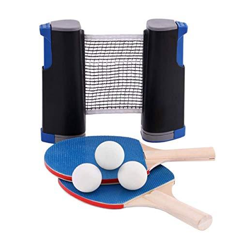 Tafeltennistafel Tafeltennistafel Buiten 2 Blauwe Tafeltennisbatjes 3 Witte Ballen 1 Zwart Intrekbaar Net Voor Kinderen Volwassenen Binnen Buitenspel Geschikt Voor School Thuis Sportclub Kantoor