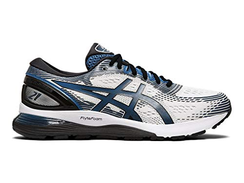 ASICS Men's Gel-Nimbus 21 Running Shoes, 11M, White/DEEP Sapphire