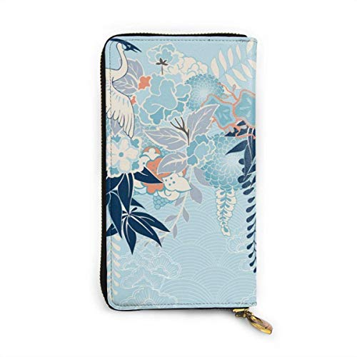JHGFG Kimono Motivo con grúa y Flores Cartera de Cuero Genuino Bolso...