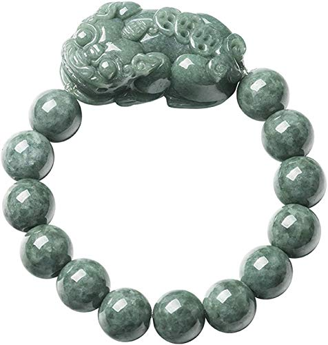 XIAOGING Feng Shui Wealth Pixiu Bracelet Neutral Natural Emerald Pixiu Pi Yao Ice Jade Bead Bracelet Stretchy Bangle Hand Carved Mantra Bead Talisman for Prosperity Money Good Luck