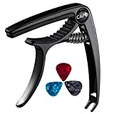 Guitar Capo, Bee-life Professional Zinc Metal Capo for 6 String Acoustic Guitar, Electric Guitar, Ukulele, Bass, Banjo, Mandolin with Free 3 PCS Guitar Picks (Black)
