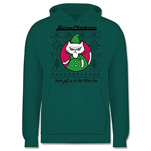 Weihnachten & Silvester - Cat Gift in The Litter Box - XS - Türkis - Spruch - JH001 - Herren Hoodie und Kapuzenpullover für Männer