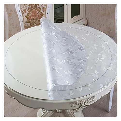 ALGFree-Silla Estera Grande Redondo Protector de Mesa de PVC Transparente,Mantel Transparente con Patrón Impermeable Anti-Quemaduras a Prueba de Aceite Mesa de Café Manteles, 2 Espesores