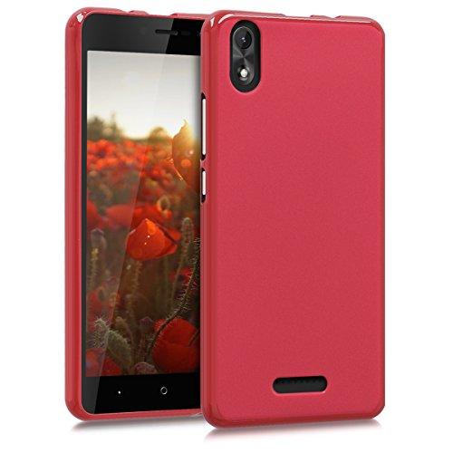 kwmobile Hülle kompatibel mit Wiko Lenny 4 Plus - Hülle Silikon - Soft Handyhülle - Handy Hülle in Rot matt