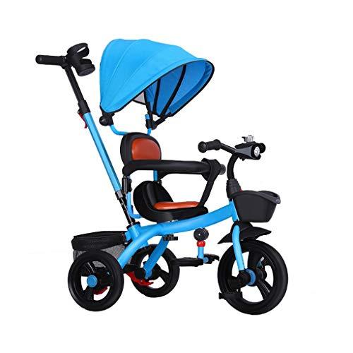 4 en 1 es adecuado para el exterior, un triciclo infantil ligero 1-3-6 bicicleta de bebé bicicleta multifuncional cochecito extraíble toldo de la cesta delantera y trasera cesta de