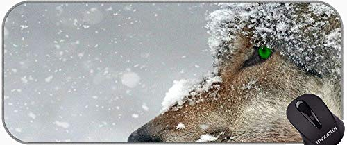 Juego extendido Mouse Pad, Winter Wolf Animal Base de Goma Antideslizante Mousepad