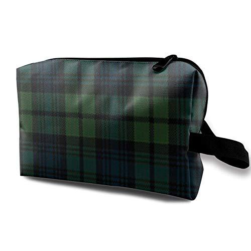 XCNGG Make-up-Taschen Fashion Artist Aufbewahrungstasche Geräumige kleine Make-up-Tasche mit Reißverschluss Scottish Tartan Plaid Green