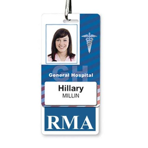 RMA Badge Buddy - Heavy Duty Vertical Badge Buddies for Registered Medical Assistants - Spill & Tear Proof Cards - 2 Sided USA Printed Quick Role Identifier ID Tag Backer by Specialist ID