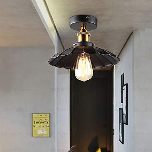 DEJ plafondlamp, E27, Amerikaanse stijl, halve plafondlamp, kroonluchters van metaal, industrieel, balkon, slaapkamer, keuken, badkamer, B 41 x 41 cm
