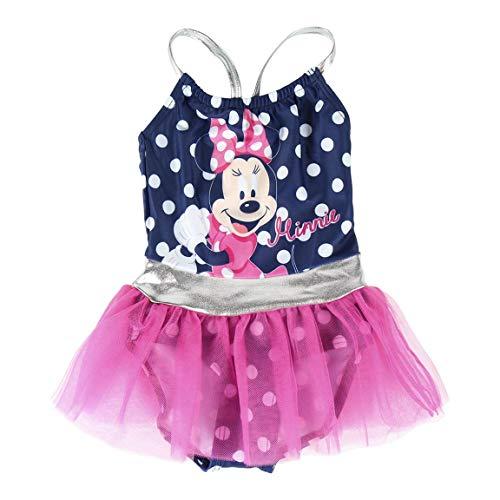 Disney Minnie Mouse Costume da Bagno per Bambina, Costume Intero per Bambini, Gonna Tutu Tulle 3D, Piscina Spiaggia Vacanze, Regalo per Bambina, 2 a 6 Anni (3 Anni)