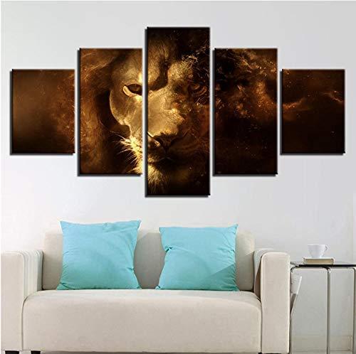 lglays Cuadro de lienzo modular para decoración del hogar, 5 piezas, diseño abstracto de león de animales, impresiones HD para sala de estar, 10 x 15 x 20 x 2 x 2 x 2 x 2 x 2 x 2 x 2 x 2 x 2 x 2 x 1