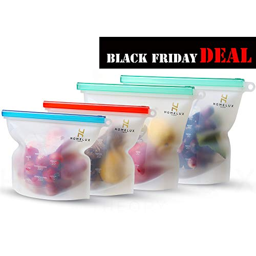 Homelux Theory Reusable Silicone Food Storage Bags | Sandwich, Sous Vide, Liquid, Snack, Lunch, Fruit, Freezer Airtight Seal | BEST for preserving and cooking | 2 Large & 2 Medium (Rainbow)