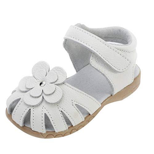 Mädchen Sommer Sandale mit weichen Sohlen Baby Leder Lauflernschuhe- Weiß, EU 20 Innenlänge 12.5cm