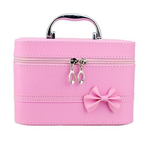 DAYAN Carino arco piazza Cosmetic Bag portatile del sacchetto borsa da toilette beauty case color rosa