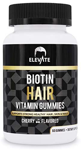 Elevate Biotin Gummies for Hair Growth 5000 mcg Cherry - Vitamins Grow Healthy Strong & Thicker Hair, Skin & Nails - Extra Strength for Men & Women - Non-GMO Pectin-Based - Made in USA 100% Natural