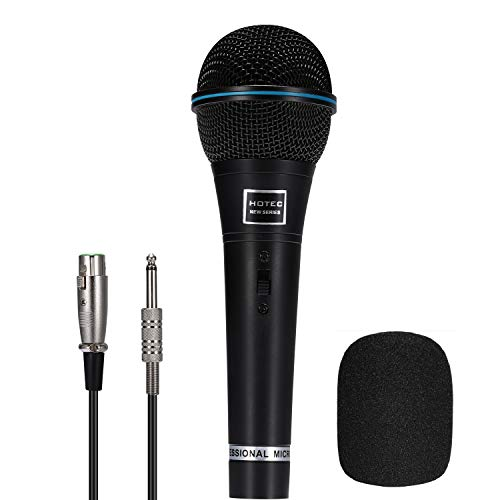 Hotec Professional Vocal Dynamic Handheld Microphone with 19ft Detachable XLR Cable and ON/OFF Switch (Metal Black) (H-W06B)