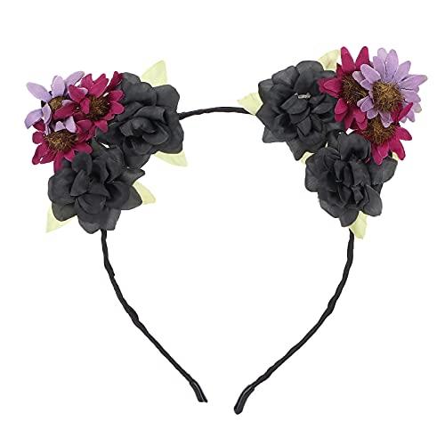 Aro de pelo de flores, diadema de corona de flores, disfraz de fiesta, accesorios de tocado de diadema para adultos y niños(negro rojo oscuro)