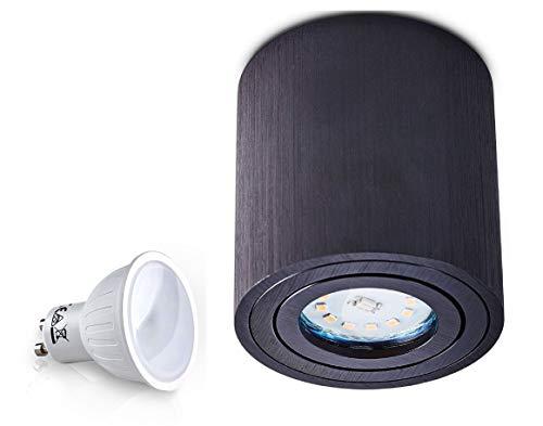 Palermo Spot plafonnier avec LED 4 W SMD Cube Qube Downlight (Noir Rond 7 W)