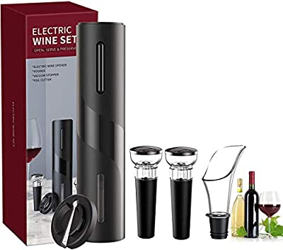 Electric Wine Opener,Automatic Electric Wine Bottle Corkscrew Opener Set with Foil Cutter,2 Vacuum Wine Stopper, Wine Aerator Pourer Kit Reusable Wine Bottle Openers Stainless Steel (5 in 1 Gift Set)