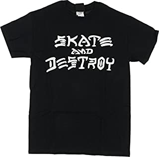 Thrasher Magazine Skate and Destroyブラックメンズ半袖Tシャツ?–?Small
